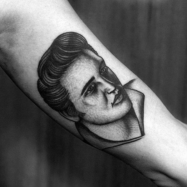 Artistic Male Inner Arm Bicep Elvis Presley Tattoo Ideas