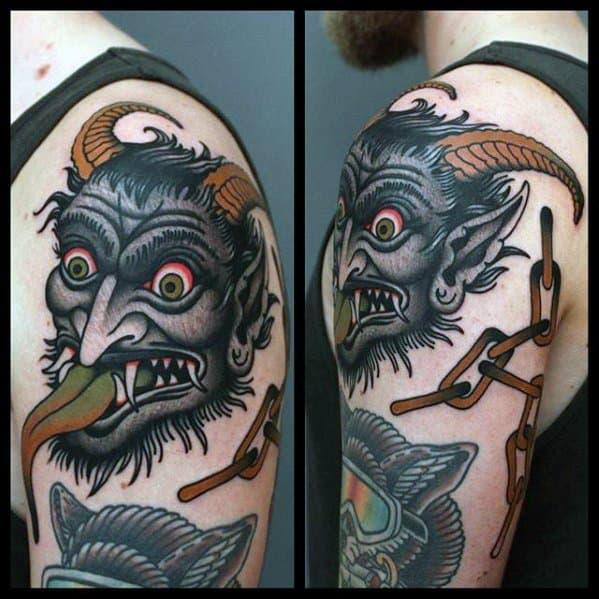Artistic Male Krampus Tattoo Ideas
