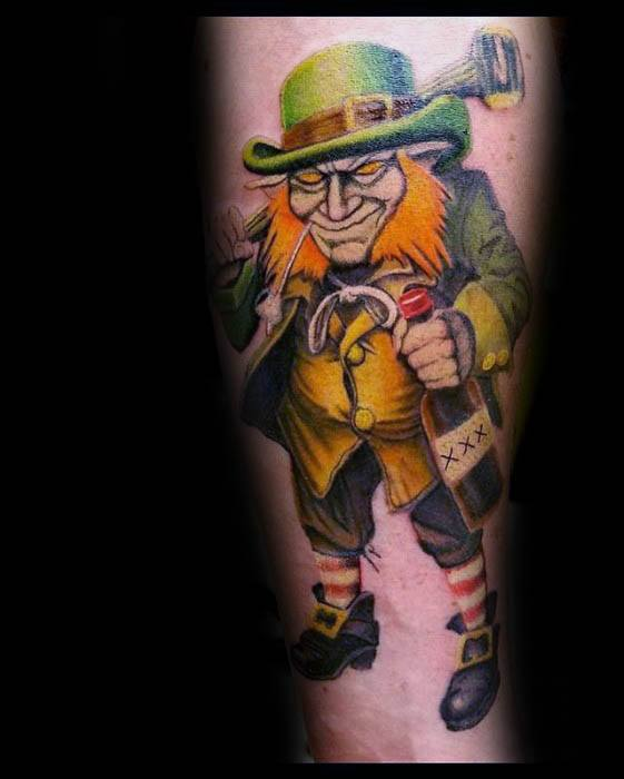 Artistic Male Leprechaun Tattoo Ideas On Forearm