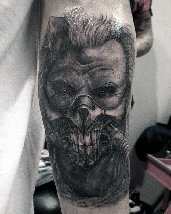 Artistic Male Mad Max Tattoo Ideas On Inner Forearm