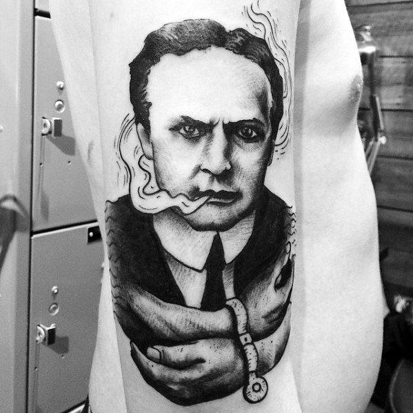 Artistic Male Magician Harry Houdini Arm Tattoo Ideas