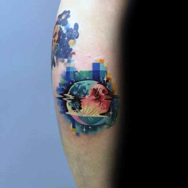 Artistic Male Moon Pixel Tattoo Ideas On Leg