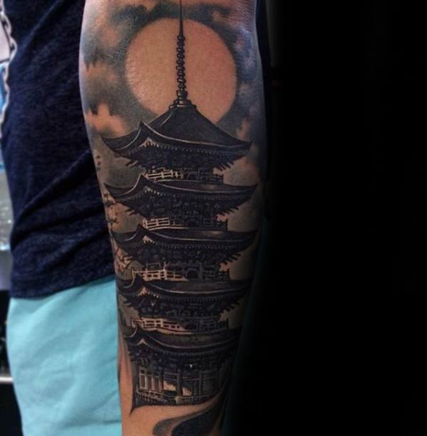Artistic Male Pagoda Tattoo Ideas Forearm