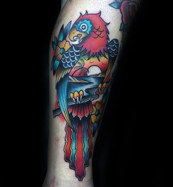 Artistic Male Parrot Side Of Leg Colorful Tattoo Ideas