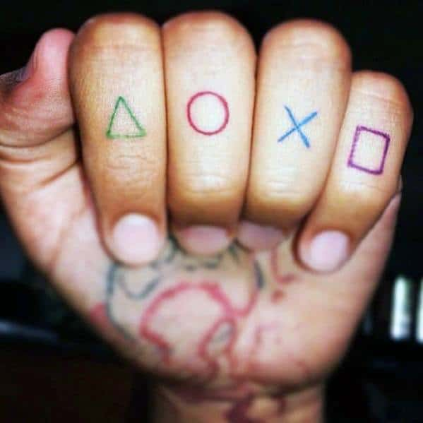 Artistic Male Playstation Controller Finger Tattoo Ideas