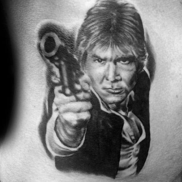 Artistic Male Rib Cage Side Han Solo Tattoo Ideas