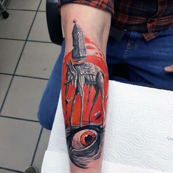 Artistic Male Salvador Dali Elephant Tattoo Ideas On Forearm