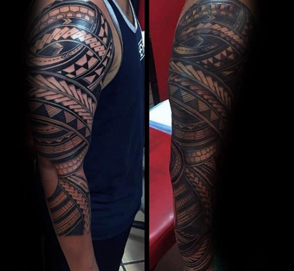 Artistic Male Samoan Full Arm Tribal Sleeve Tattoos