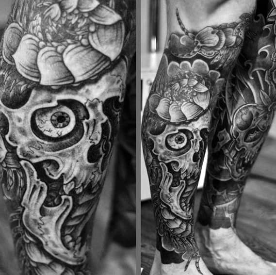 Artistic Male Skull Centipede Leg Sleeve Tattoo Ideas