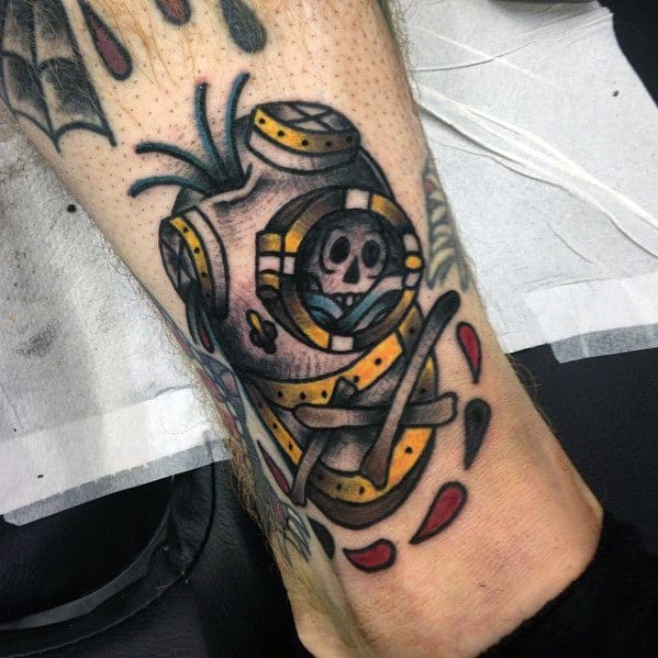 Artistic Male Skull Inside Diving Helmet Tattoo Ideas On Lower Leg