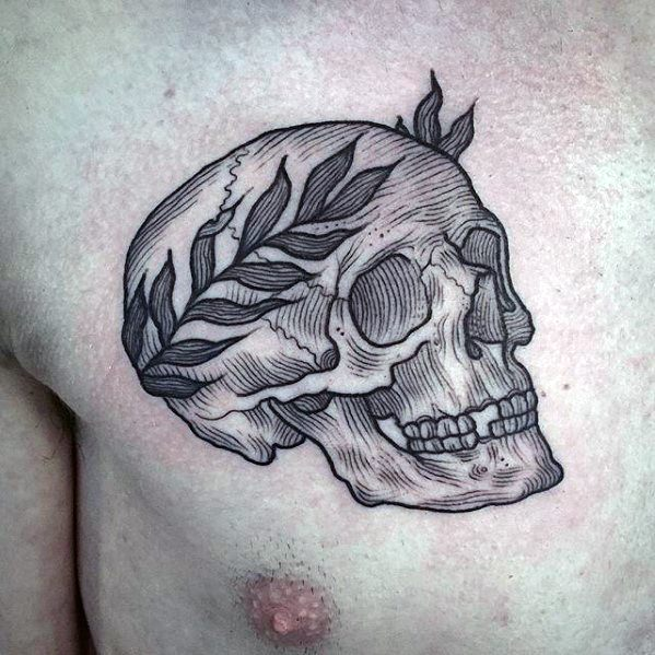 Artistic Male Skull Laurel Wreath Chest Tattoo Ideas