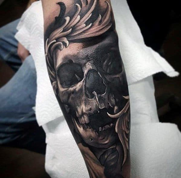 Artistic Male Skull Sleeve Greatest Tattoo Ideas