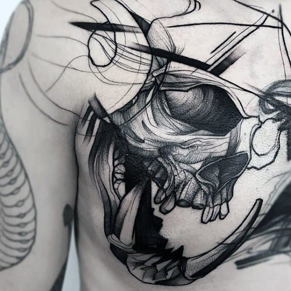 Artistic Male Skull Upper Chest Sketch Tattoo Ideas