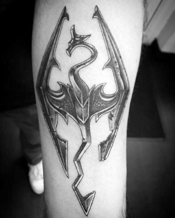Artistic Male Skyrim Tattoo Ideas On Inner Forearm