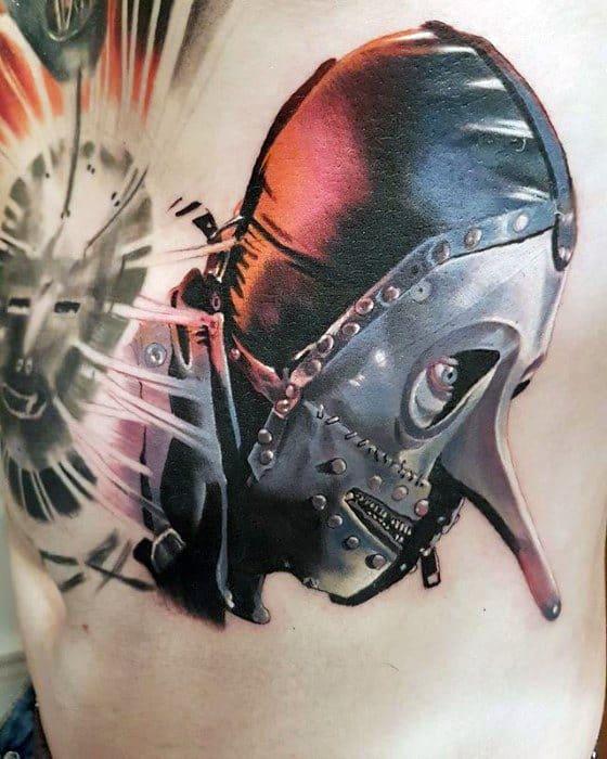 Artistic Male Slipknot Tattoo Ideas On Upper Chest