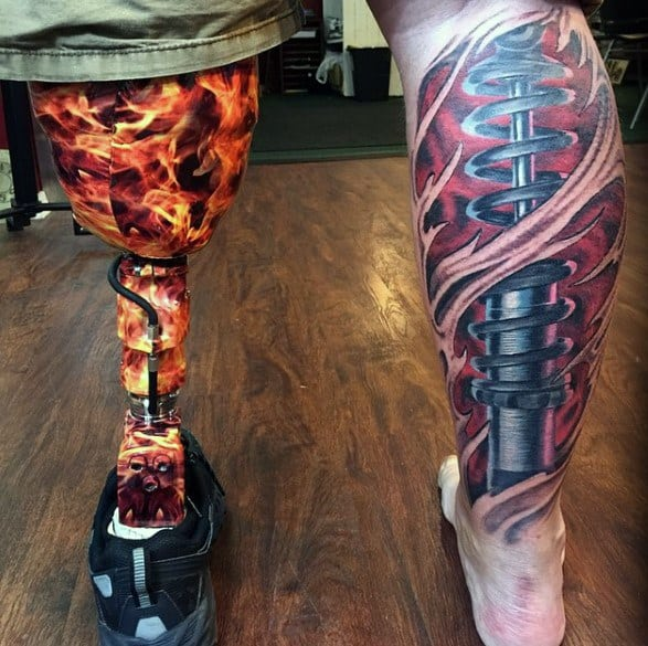 Artistic Male Suspension Ripped Skin Leg 3d Tattoo Ideas