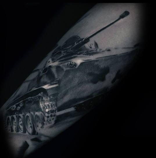 Artistic Male Tank Tattoo Ideas
