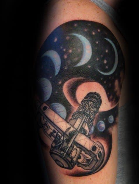 Artistic Male Telescope Tattoo Ideas On Leg Calf