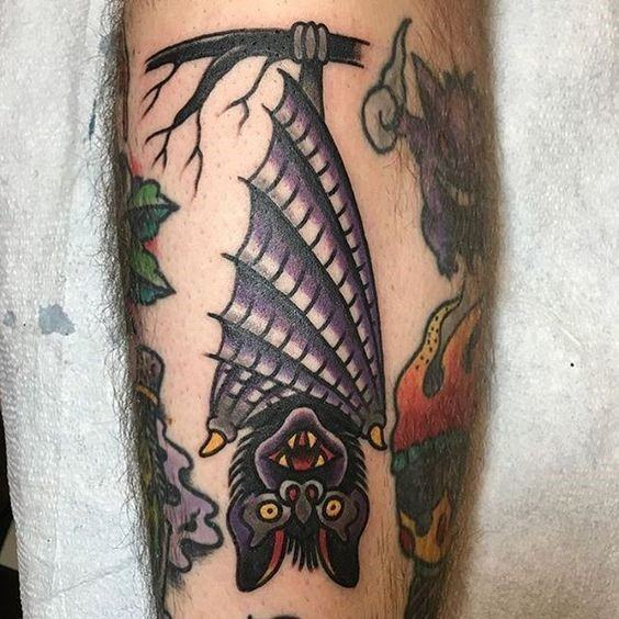 Artistic Male Traditional Bat Tattoo Ideas