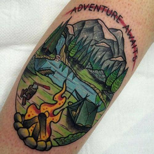 40 traditional mountain tattoo designs for men old for Mountain man tattoo