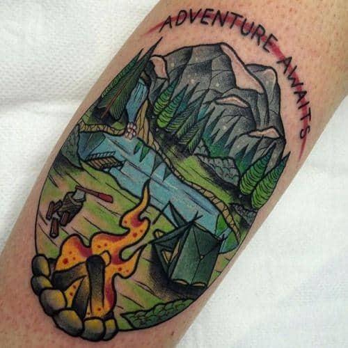 Artistic Male Traditional Mountain Tattoo Ideas
