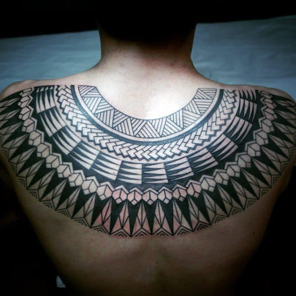 Artistic Male Upper Back Awesome Tribal Tattoo Ideas