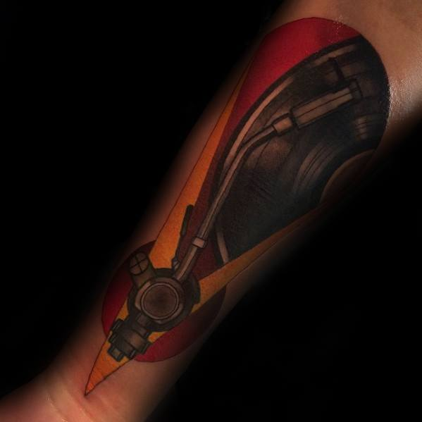 Artistic Male Vinyl Record Tattoo Ideas Inner Forearm