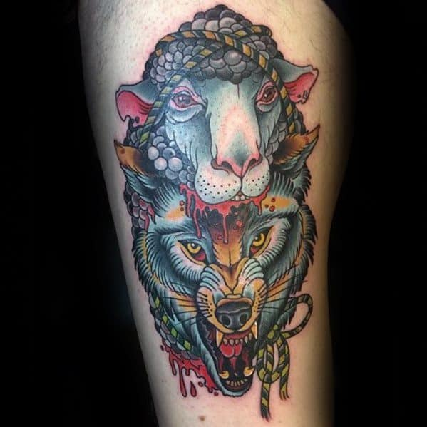 Artistic Male Wolf In Sheeps Clothing Tattoo Ideas On Thigh