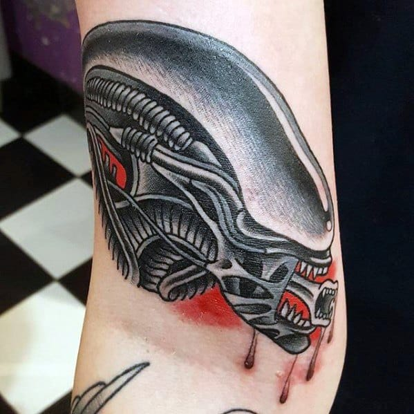 Artistic Male Xenomorph Tattoo Ideas On Arm