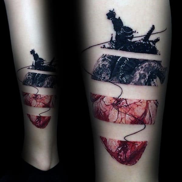 Artistic Mens Negative Space Realistic Heart Tattoo On Leg
