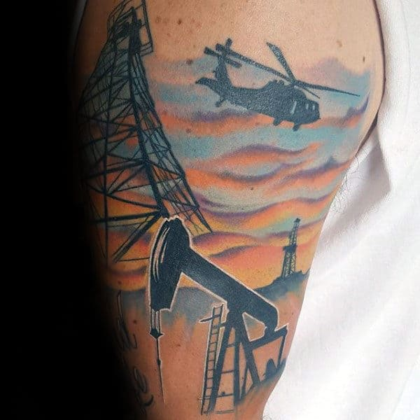 Artistic Mens Oilfield Arm Tattoo Design Inspiration