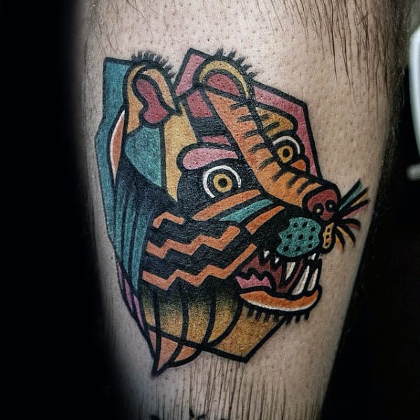Artistic Mens Small Simple Geometric Bear Leg Tattoo