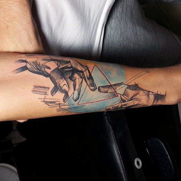 Artistic Outer Forearm Triangle Manly The Creation Of Adam Tattoo Design Ideas For Men