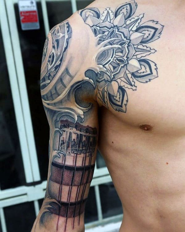 Artistic Pattern With Guitar Mens Sleeve And Shoulder Tattoo