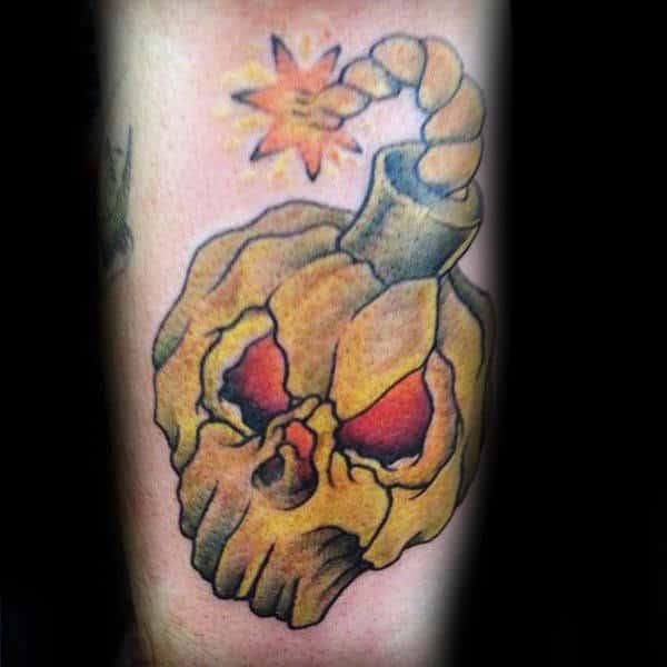 Artistic Pumpkin Skull Bomb Mens Inner Forearm Tattoo