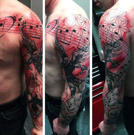 Artistic Red And Black Ink Male Music Sleeve Tattoos