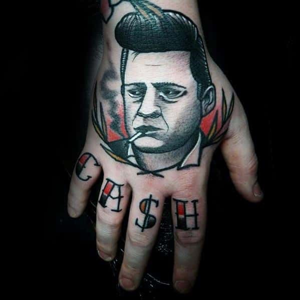 Artistic Shaded Johnny Cash Guys Tattoo Designs On Hand