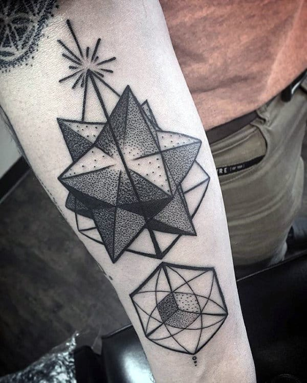 Artistic Shapes Male Geometric Forearm Tattoo Ideas