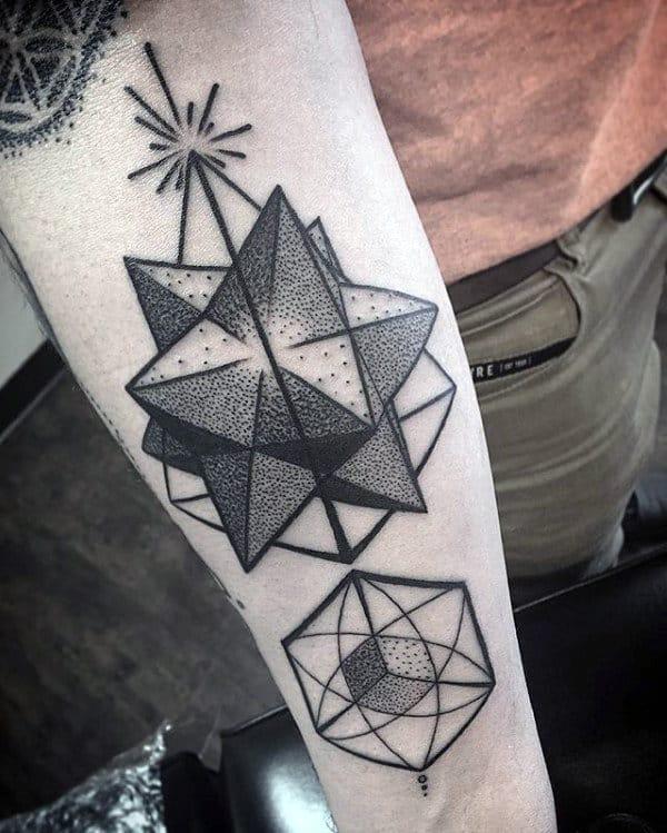 Artistic Shapes Male Geometric Forearm Tattoo Ideas