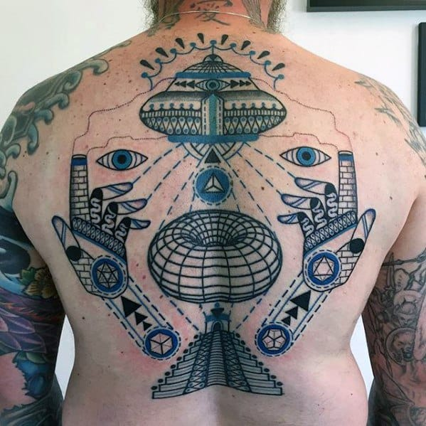 Artistic Shapes With Pyramid Guys Unique Back Tattoo