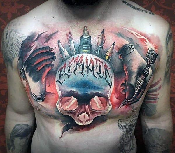 Artistic Skull Male Chest Tattoos