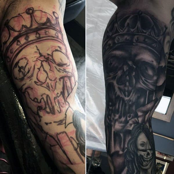 Artistic Skull With Crown Tattoo Sleeves For Guys
