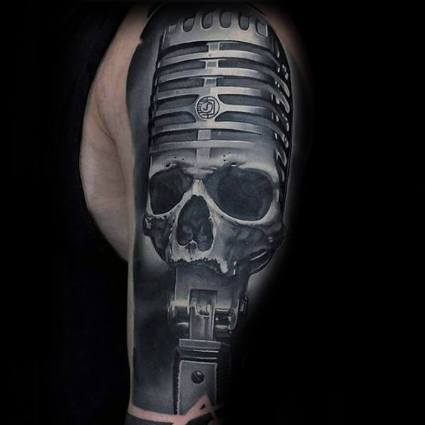 Artistic Skull With Microphone 3d Mens Unique Arm Tattoos