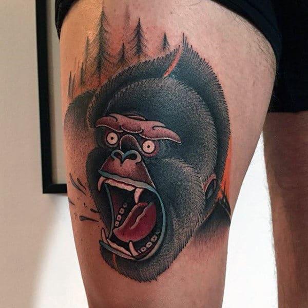 Artistic Tattoo Of Gorilla In Africa For Men