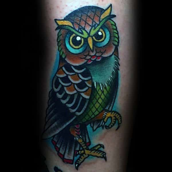 Artistic Traditional Colorful Male Owl Arm Tattoos