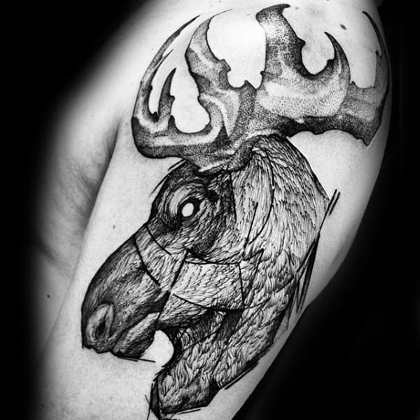 Artistic Upper Arm Mens Moose Tattoos With Black Ink