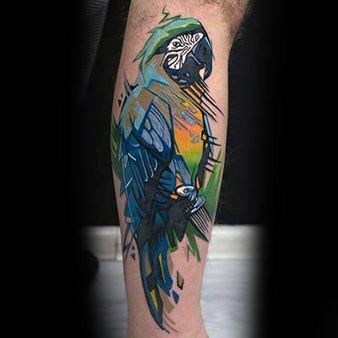 Artistic Watercolor Leg Parrot Guys Tattoos
