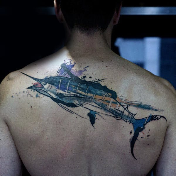 Artistic Watercolor Swordfish Mens Upper Back Tattoo