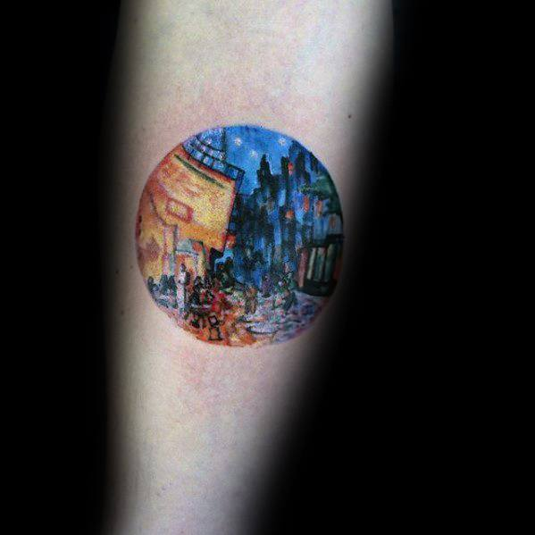Artistic Watercolor Vincent Van Gogh Mens Circle Forearm Tattoo