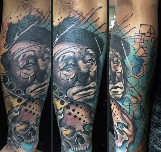 Artistis Clown With Skull Guys Watercolor Forearm Sleeve Tattoos